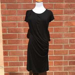 Theory women's black ruched dress